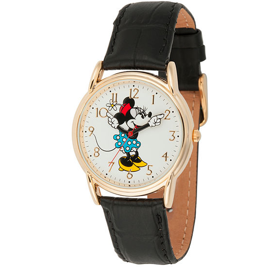 Disney Minnie Mouse Womens Black Leather Strap Watch-Wds000410