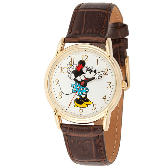 Disney Minnie Mouse Womens Brown Leather Strap Watch-Wds000411