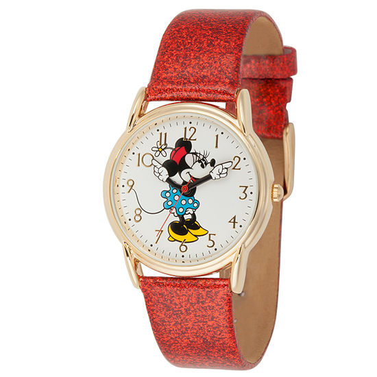 Disney Collection Minnie Mouse Womens Red Leather Strap Watch-Wds000412