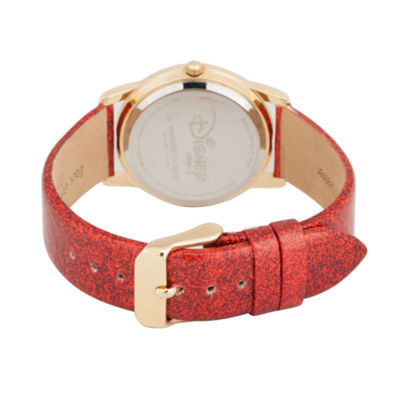 Disney Minnie Mouse Womens Red Strap Watch-Wds000412