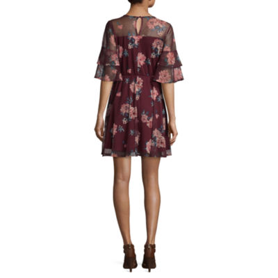 Luxology Short Sleeve Floral Fit & Flare Dress