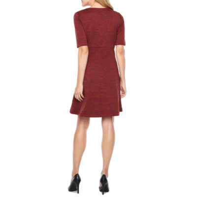 Perceptions Elbow Sleeve Shift Dress