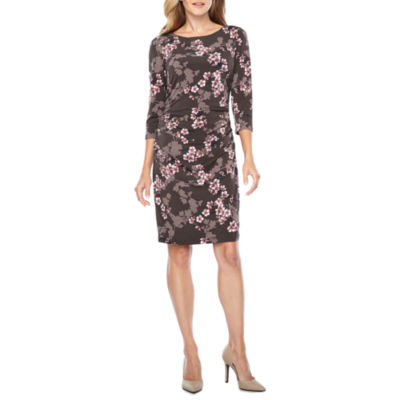 Be by CHETTA B 3/4 Sleeve Floral Sheath Dress