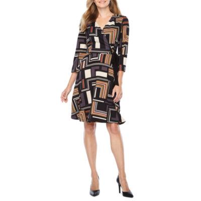 R & K Originals Elbow Sleeve Pattern Wrap Dress