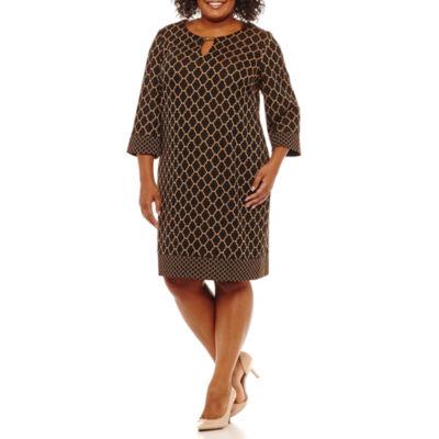 Ronni Nicole 3/4 Sleeve Jacquard Sheath Dress-Plus