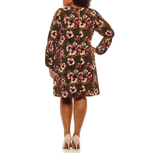 R & K Originals Long Sleeve Floral Sheath Dress-Plus