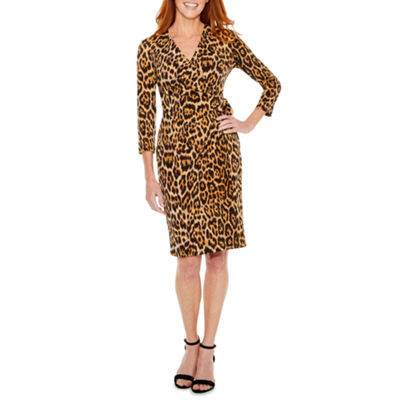 Black Label by Evan-Picone 3/4 Sleeve Leopard Wrap Dress