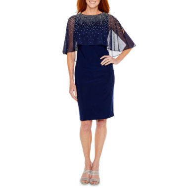 Jackie Jon Elbow Sleeve Beaded Sheath Dress