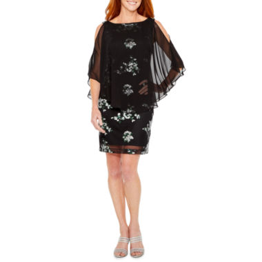 Studio 1 Embellished Floral Cape Sheath Dress