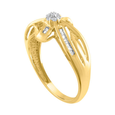 Diamond Blossom Womens 1/7 CT. T.W. Genuine Diamond 10K Gold Cocktail Ring