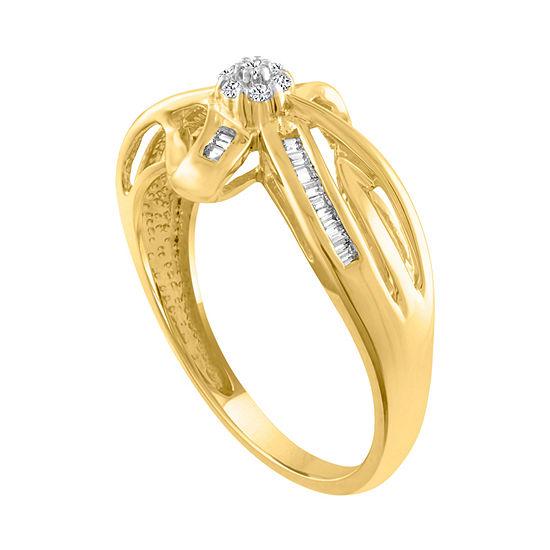 Diamond Blossom Womens 1/7 CT. T.W. Genuine Diamond 10K Gold Cocktail Ring