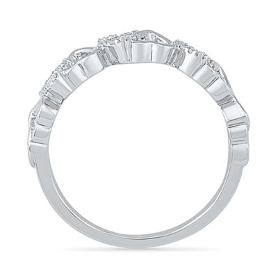 Womens 2mm 1/10 CT. T.W. Genuine White Diamond 10K Gold Band