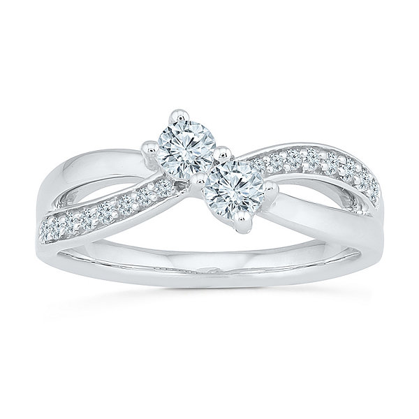 Fine Jewelry Womens 1/2 CT. T.W. White Diamond 10K Gold Band UHDmKFl