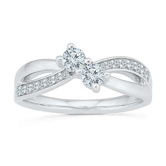 Womens 1/2 CT. T.W. Genuine White Diamond 10K Gold Cocktail Ring