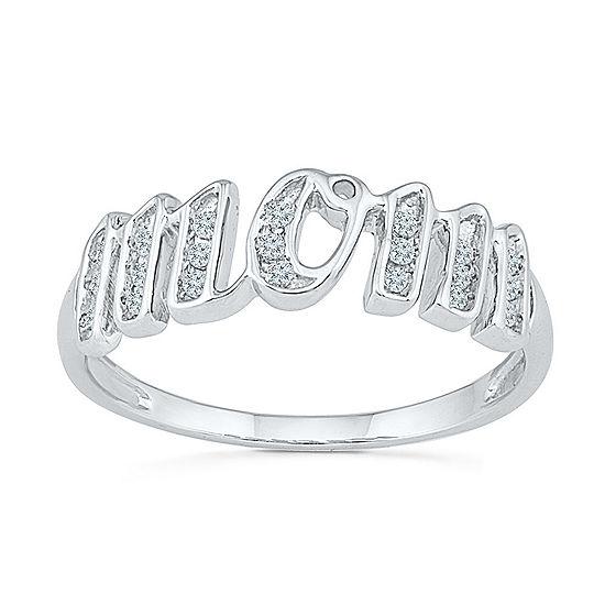 Womens 2MM 1/8 CT. T.W. Genuine White Diamond 10K Gold Band