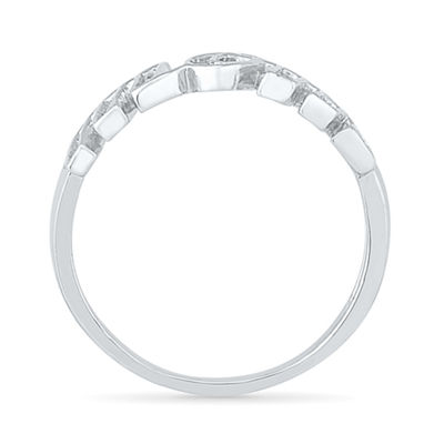 Womens 2MM 1/8 CT. T.W. Genuine White Diamond 10K Gold Band