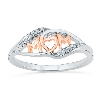 Womens 2mm Diamond Accent Genuine White Diamond 10K Gold Heart Band