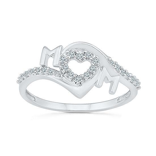 Womens 2mm 1 6 Ct Tw Genuine White Diamond 10k Gold Heart Band