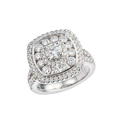 Womens 1 1/2 CT. T.W. Genuine Round White Diamond 10K Gold Engagement Ring