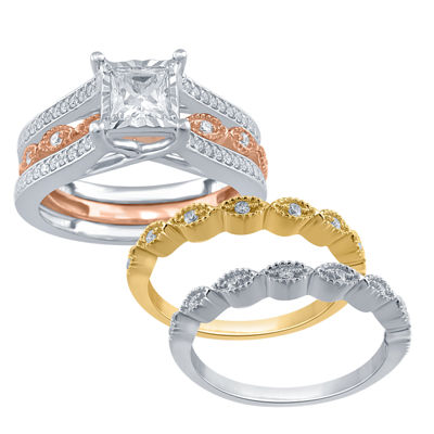 Womens 7/8 CT. T.W. Genuine White Diamond 10K Gold Bridal Set