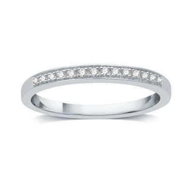 I Said Yes Womens Diamond Accent Genuine White Diamond Platinaire Wedding Band