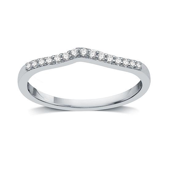 I Said Yes Womens 2mm Diamond Accent Genuine White Diamond Platinaire Wedding Band
