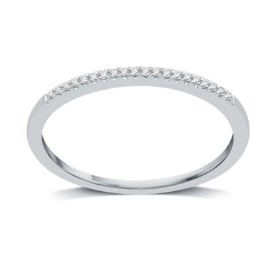 I Said Yes Womens 2mm Diamond Accent Genuine White Diamond Platinaire Wedding Band