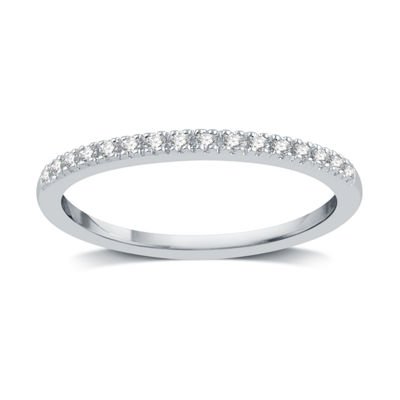 I Said Yes Womens 2MM 1/10 CT. T.W. Genuine White Diamond Platinaire Wedding Band