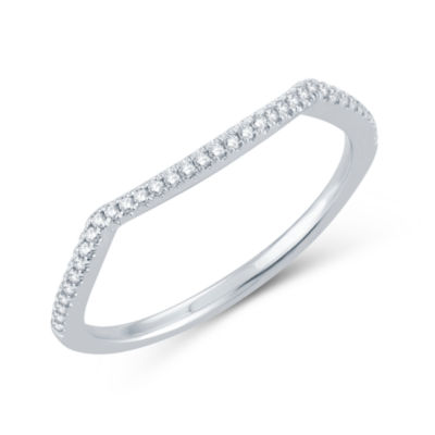 Modern Bride Signature Womens 1/10 CT. T.W. Genuine White Diamond 14K Gold Wedding Band