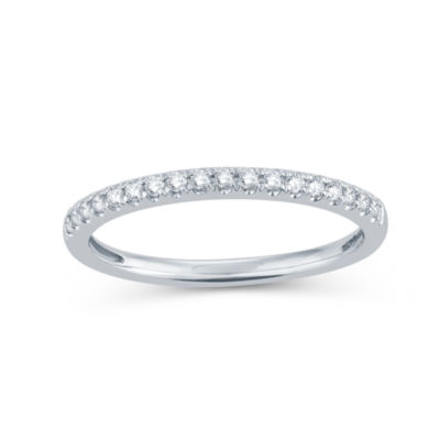 Womens 1/5 CT. T.W. Genuine White Diamond 14K Gold Round Wedding Band