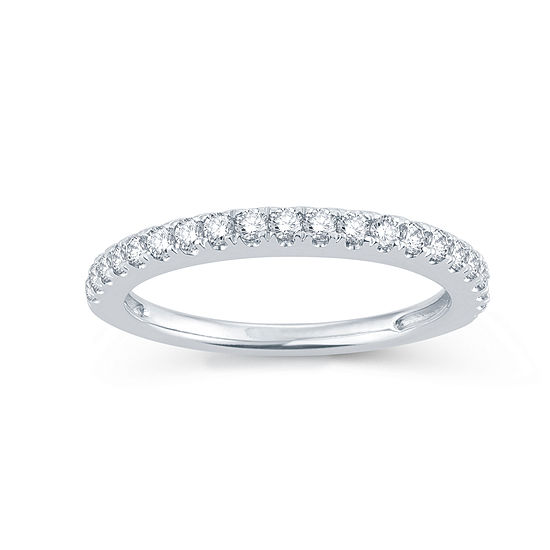 Modern Bride Signature Womens 1/3 CT. T.W. Genuine White Diamond 14K Gold Round Wedding Band
