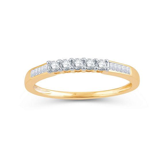 1/4 CT. T.W. Genuine White Diamond 10K Gold Round Wedding Band