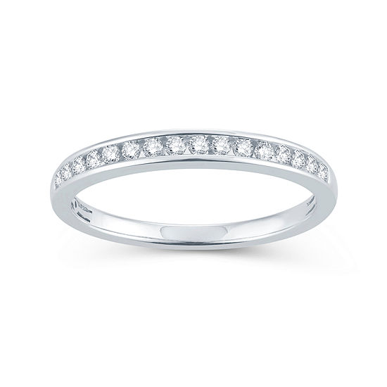 1/5 CT. T.W. Genuine White Diamond 10K Gold Round Wedding Band
