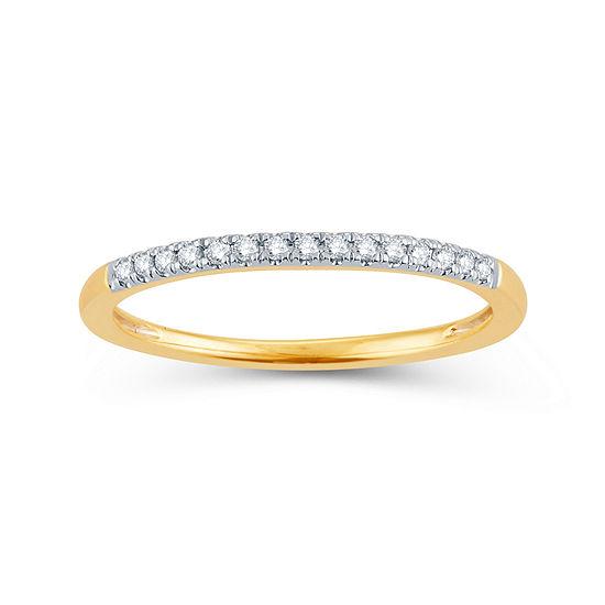 Womens Diamond Accent Genuine White Diamond 14K Gold Round Wedding Band