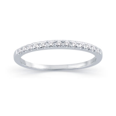 Womens 1/10 CT. T.W. Genuine White Diamond 10K Gold Round Wedding Band