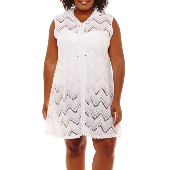 Porto Cruz Chevron Crochet Swimsuit Cover-Up Dress-Plus