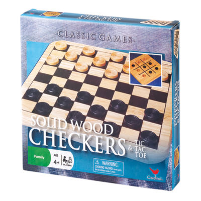 Cardinal Solid Wood Checkers & Tic Tac Toe