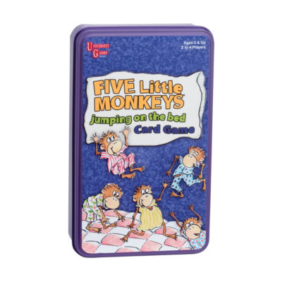 University Games Five Little Monkeys Jumping on the Bed Card Game in a Tin