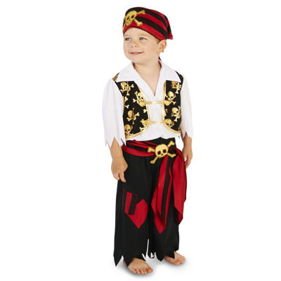 Skull Print Vest with Patched Pants Pirate ToddlerCostume - 2-4T