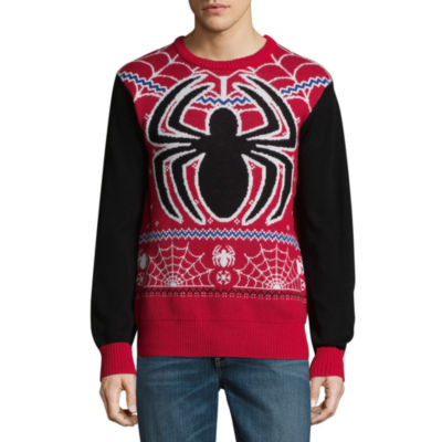 Novelty Season Crew Neck Long Sleeve Spiderman Pullover Sweater