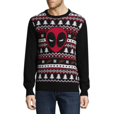 Novelty Season Crew Neck Long Sleeve Deadpool Cotton Blend Pullover Sweater