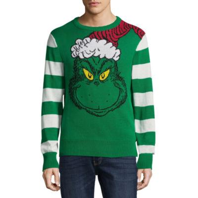 Novelty Season Crew Neck Long Sleeve Grinch Cotton Blend Pullover Sweater