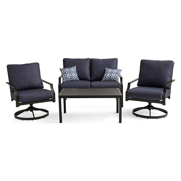 Outdoor Oasis San Luis 4 Pc Conversation Set With Swivel Chairs