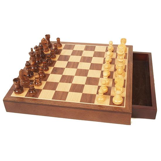 John N Hansen Co Walnut Wood Chess Set