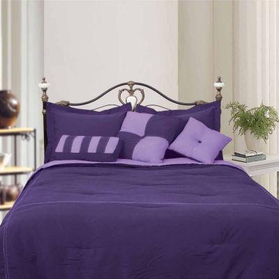 LCM Home Fashions Microfiber Reversible 4-Piece Comforter Set