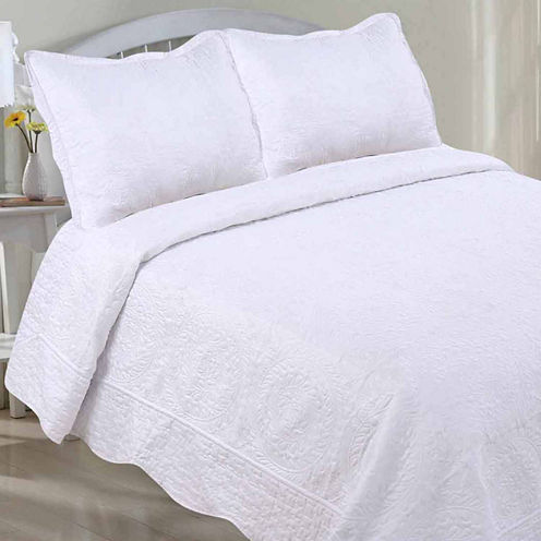 LCM Home Fashions Embroidery Quilt Set