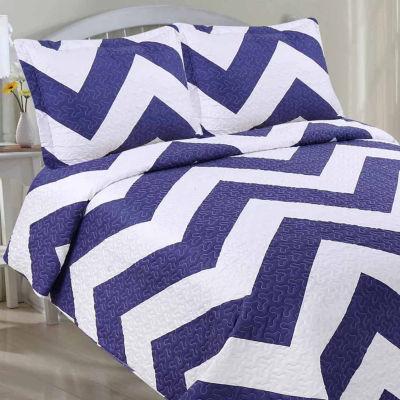LCM Home Fashions Chevron Quilt Set