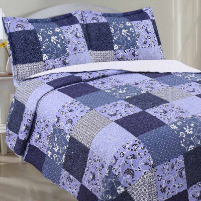 LCM Home Fashions Quilt Set Reverse To Sherpa KingBlue