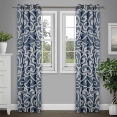 Journee Home Brenna Damask Print Grommet Top Curtain Panel
