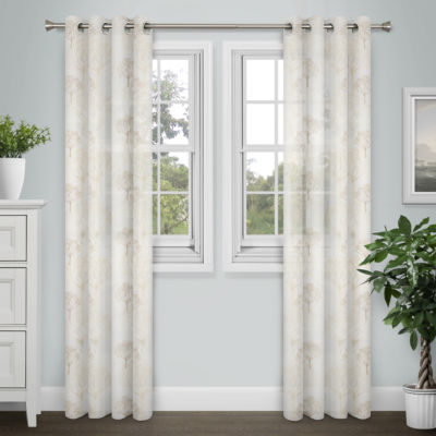 Journee Home Fiona Embroidered Grommet Top Curtain Panel